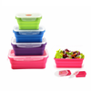 New products set of 4 different size food box food grade Folding silicone school lunch box