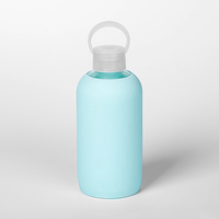 16oz 500ml Eco Friendly Reusable Best Glass Water Bottle with Smooth Silicone Sleeve for Travel, Narrow Mouth, BPA-Free & Dishwasher Safe